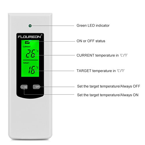 Floureon Thermostat Wireless Steckerthermostat RF Stecker Heizkörperthermostat Heizen Kühlen Temperatur Regler Controller - 4